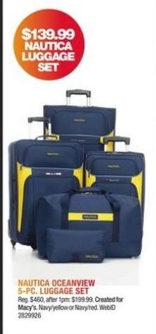 Macy's Black Friday: Nautica Oceanview 5-PC Luggage Set In Navy/Yellow or Navy/Red for $139.99