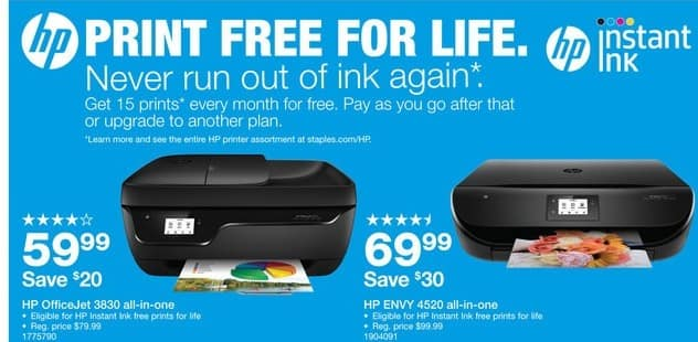 Staples Black Friday: HP OfficeJet 3830 All-In-One Printer (K7V40A#B1H) +  HP Instant Ink Free Prints For Life for $59.99