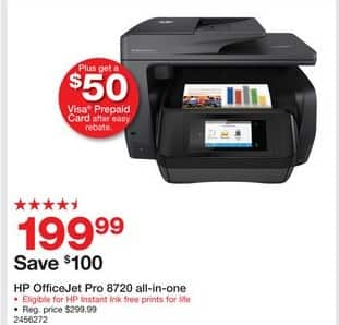 Staples Black Friday: HP OfficeJet Pro 8720 Black All-in-One Inkjet Printer (M9L74A#B1H) + $50 Visa Prepaid Card After Easy Rebate for $199.99