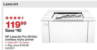 Staples Black Friday: HP LaserJet Pro M102w Wireless Mono Laser  Printer (G3Q35A#BGJ) for $119.99