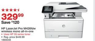 Staples Black Friday: HP LaserJet Pro MFP M426fdw Wireless Mono All-In-One Printer (F6W15A#BGJ) for $329.99