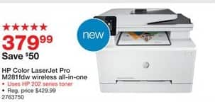 Staples Black Friday: HP LaserJet Pro M281fdw Wireless All in One Wireless Color Laser Printer (T6B82A) for $379.99