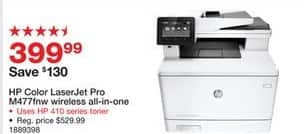 Staples Black Friday: HP Color LaserJet Pro  M477fnw  Wireless All-In-One (CF377A#BGJ) for $399.99
