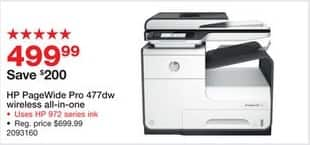 Staples Black Friday: HP PageWide Pro 477dw Wireless All-In-One Printer (D3Q20A#B1H) for $499.99