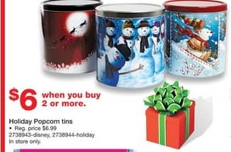 Staples Black Friday: (2 or More) Holiday Popcorn Tins for $6.00