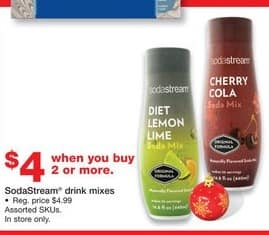 Staples Black Friday: (2 or More) SodaStream Drink Mixes for $4.00