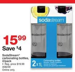 Staples Black Friday: 2-Pack SodaStream Carbonatiing Bottles for $15.99