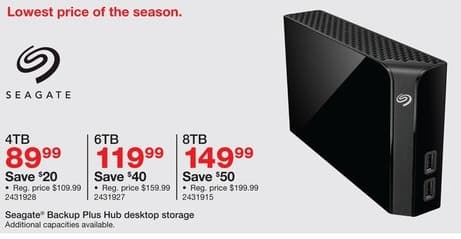 Staples Black Friday: Seagate 4TB Backup Plus Hub USB 3.0 Desktop Hard Drive for $89.99