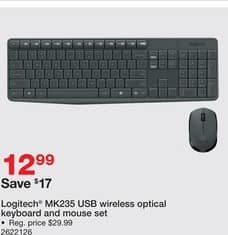 Staples Black Friday: Logitech MK235 USB Wireless Optical Keyboard & Mouse Set for $12.99