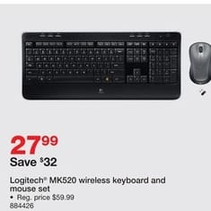 Staples Black Friday: Logitech MK520 Full-Size Wireless Keyboard & Mouse Set for $27.99