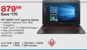 "Staples Black Friday: HP 15.6"" Omen Gaming Laptop, Intel  i7 Processor, 1TB HDD, 128GB SDD, 8GB RAM for $879.99"