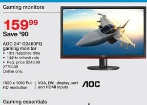 """Staples Black Friday: AOC 24"""" G246FQ Gaming Monitor  w/ VGA, DVI, Display Port and HDMI Inputs for $159.99"""