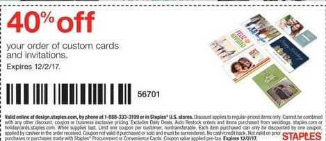 Staples Black Friday: Your Order of Custom Cards and Invitations - 40% Off