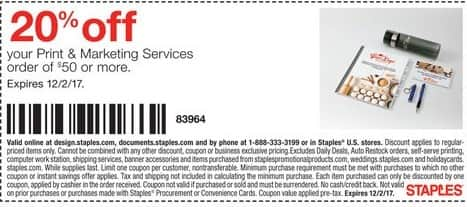 Staples Black Friday: Print & Marketing Services - 20% Off  of $50 Or More