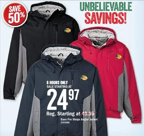 Bass Pro Shops Black Friday: Bass Pro Shops Angler Jacket - Starting at $24.97