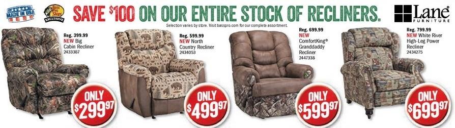 Bass Pro Shops Black Friday: Lane Furniture White River High-Leg Power Recliner for $699.97