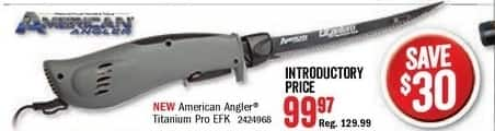 Bass Pro Shops Black Friday: American Angler Pro Titanium Electric Fillet Knife for $99.97