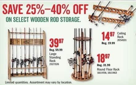Bass Pro Shops Black Friday: Select Wooden Rod Storage - 25-45% Off