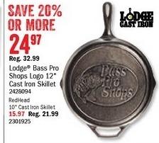 "Bass Pro Shops Black Friday: Lodge Bass Pro Logo 12"" Cast Iron Skillet for $24.97"