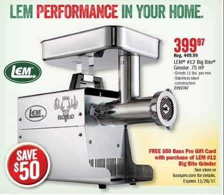 Bass Pro Shops Black Friday: RedHead Lem #12 Big Bite Electric Meat Grinder .75HP + $50 Bass Pro Gift Card for $399.97