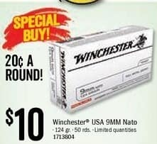 Bass Pro Shops Black Friday: Winchester USA 9MM Nato 50 Rounds for $10.00