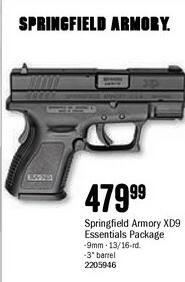 Bass Pro Shops Black Friday: Springfield Armory XD9 9mm Handgun Essentials Package for $479.99