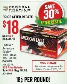 Bass Pro Shops Black Friday: Federal American Eagle Centerfire 9mm  Ammo for $18.00 after $6.00 rebate