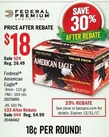American Eagle Rebate >> Bass Pro Shops Black Friday Federal American Eagle