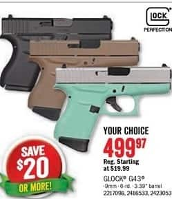 Bass Pro Shops Black Friday: 9mm Glock 43 for $499.97