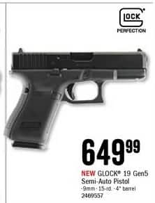 Bass Pro Shops Black Friday: 9mm GLOCK 19 Gen5 for $649.99
