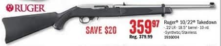 Bass Pro Shops Black Friday: Ruger 10/22 Takedown .22LR  Semi-Auto Rifle for $359.97