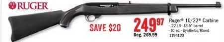 Bass Pro Shops Black Friday: Ruger 10/22 Carbine 22 LR  Blued/Synthetic Semi-Auto Rifle for $249.97