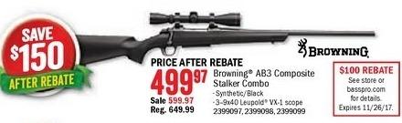 Bass Pro Shops Black Friday: Browning AB3  Composite Stalker Combo w/ Leupold VX-1 3-9x40 scope for $499.97 after $100.00 rebate