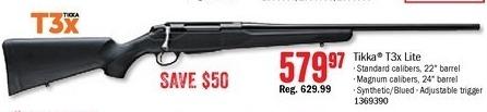 Bass Pro Shops Black Friday: Tikka T3x Lite Rifle for $579.97