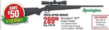 Bass Pro Shops Black Friday: Remington 783 Scope Combo for $289.99 after $50.00 rebate