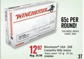 Bass Pro Shops Black Friday: Winchester USA. .308 Centerfire Rifle Ammo for $12.97