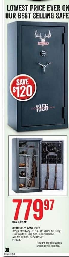 Bass Pro Shops Black Friday: RedHead 1856 Collection Ultra Fire-Resistant Gun Safe for $779.97