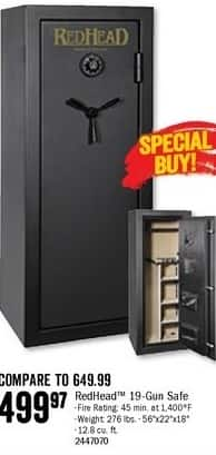 Bass Pro Shops Black Friday: RedHead 19-Gun Safe for $499.97