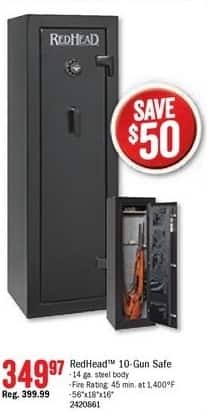 Bass Pro Shops Black Friday: RedHead Fire-Resistant 10-Gun Safe for $349.97