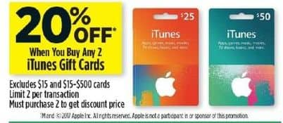 Dollar General Black Friday: Any 2 iTunes Gift Cards - 20% Off