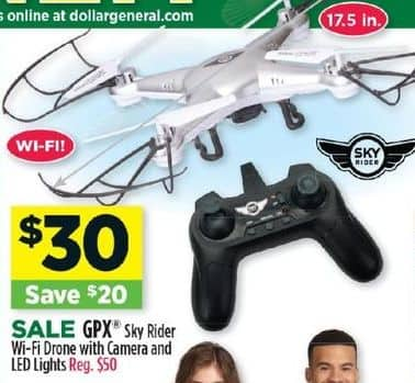 Dollar General Black Friday: GPX Sky Rider Wi-Fi Drone w/ Camera And LED Lights for $30.00