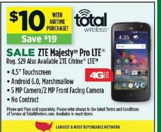 Dollar General Black Friday: ZTE Majesty Pro LTE  Or ZTE Citrine LTE w/ Airtime Purchase for $10.00