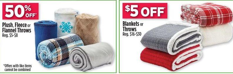 Dollar General Black Friday: Plush, Fleece, or Flannel Throws - 50% Off