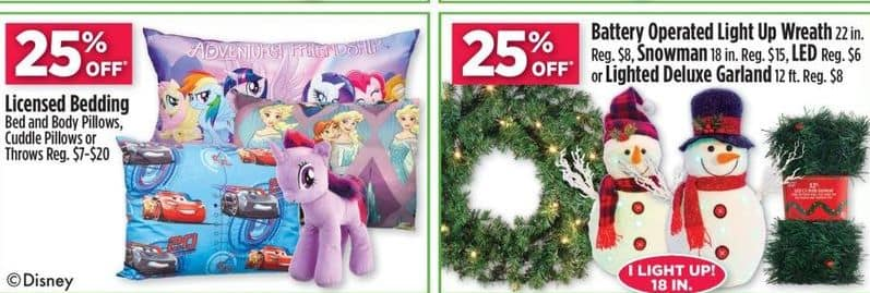 "Dollar General Black Friday: 22"" Battery Operated Light Up Wreath, 18"" Snowman, 12 ft. LED or Lighted Deluxe Garland - 25% Off"