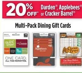 Dollar General Black Friday: Darden, Applebees, or Cracker Barrel Multi-Pack Dining Gift Cards - 20% Off