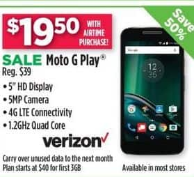 Dollar General Black Friday: Moto G Play-Verizon Wireless ww/Airtime Purchase for $19.50