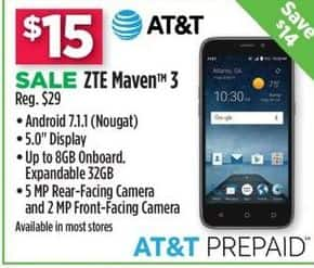 Dollar General Black Friday: ZTE Maven 3 -AT&T Prepaid for $15.00