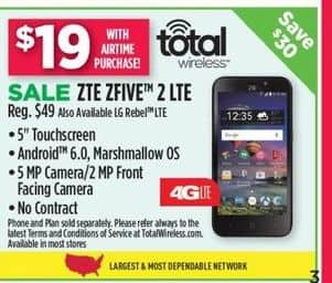 Dollar General Black Friday: ZTE ZFIVE 2 LTE Or LG Rebel LTE w/ Airtime Purchase-Total Wireless for $19.00