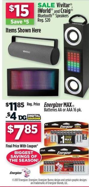 Dollar General Black Friday: Energizer MAX 16 pk. AA or