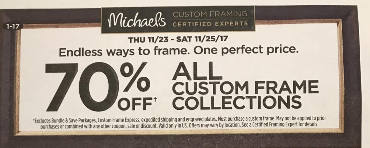 Michaels Black Friday All Custom Frame Collections 70 Off